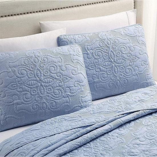 HJ HOME FASHION Cotton Damask-Embroidery Quilt Set